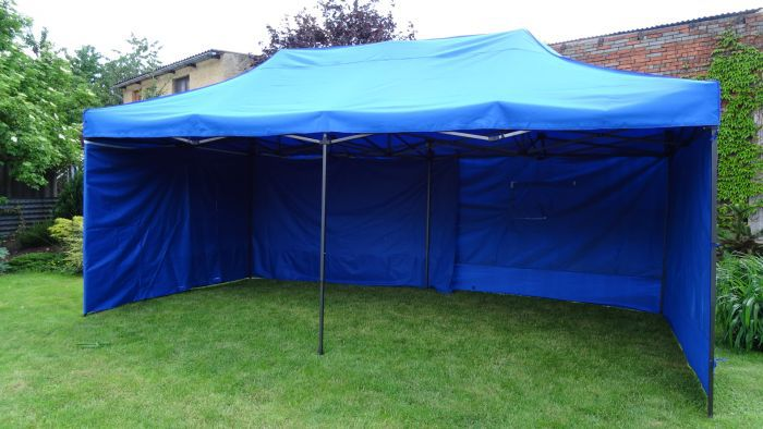 Zahradní párty stan DELUXE nůžkový + boční stěny - 3 x 6 m modrá