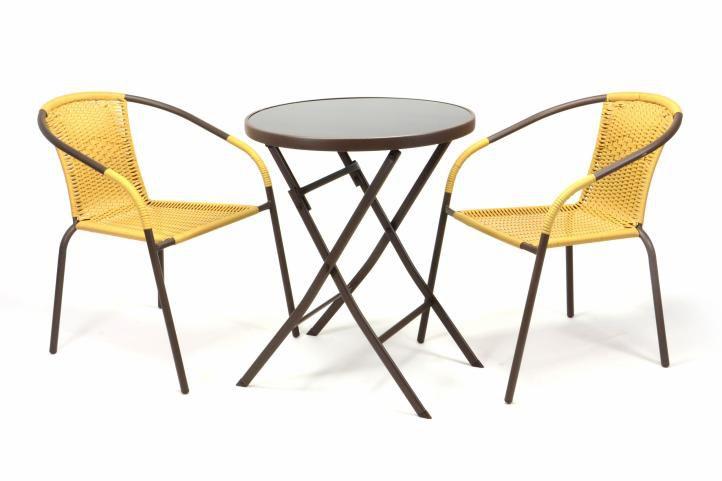 Zahradní set BISTRO 2 židle + stůl - béžový polyratan
