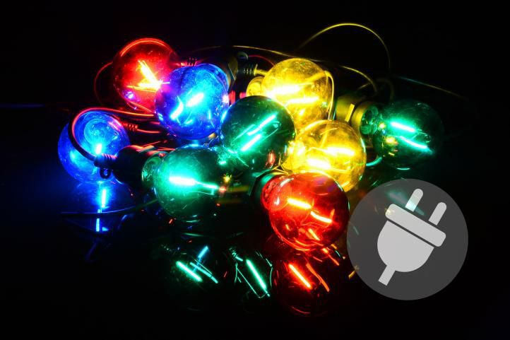 Zahradní párty osvětlení LED - skleněné žárovky - 5 m barevné